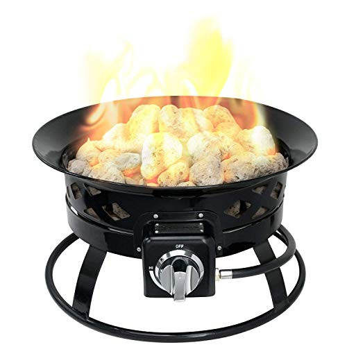 Sunward Portable Outdoor Patio Propane Fire Pit with 19-Inch Fire Bowl, Includes Lava Rocks, Lid, Carry Handle and Weather Resistant Bag, 58,000 BTU