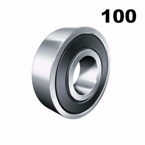 One Hundred (100) 608-2RS 8x22x7 Precision Double Shielded Greased Ball Bearings 608 RS