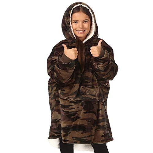 RGHS Winter Fleece Warme Hoodies Sweatshirts Verdicken Pullover Kinder Bademantel Sofa Gemütliche Flauschige Decke Kinder Junge Mädchen Home Lässige Decke