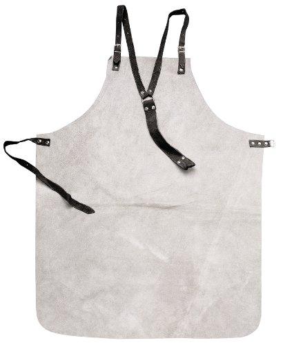 Original Einhell Leder Schweissschürze Schweiß-Zubehör (graue Lederschürze aus Rindsleder, Schutz bei Schweißarbeiten, 80 x 100 cm, 3-Punkt-Beriemung)