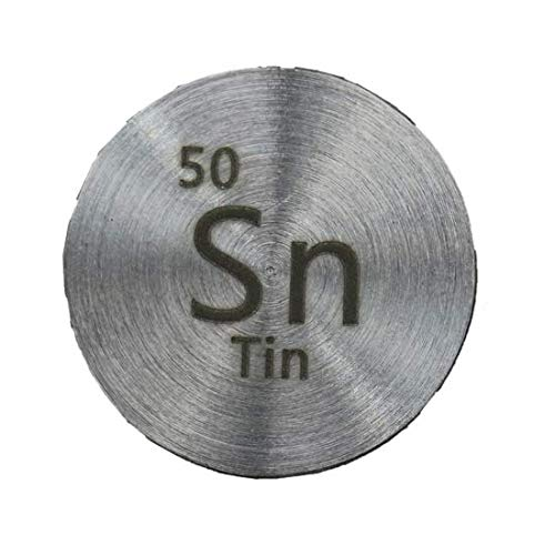 Tin (Sn) 24.26mm Metal Disc 99.9% Pure for Collection or Experiments