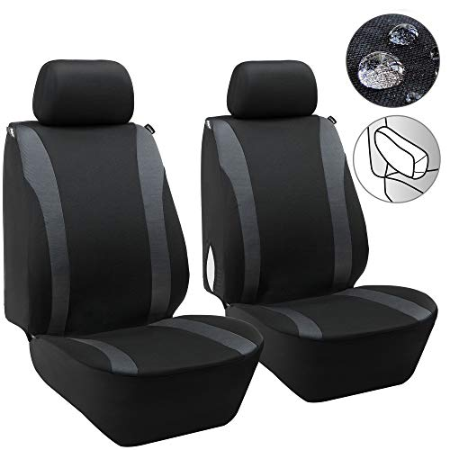 Elantrip Waterproof Front Seat Covers Car Water Repellent Bucket Seat Cover Universal Fit Airbag Armrest Compatible for Auto SUV Truck Van, Black and Grey 2 PC