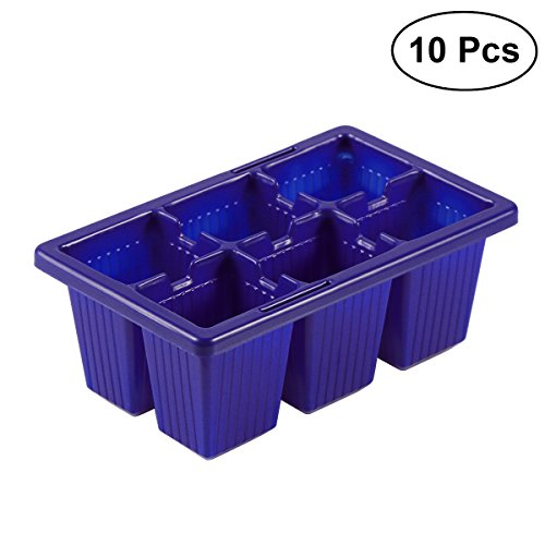 Bestomz - Set di 10 vassoi di avviamento per semina, 6 celle, per pianta per Grower, colore: blu