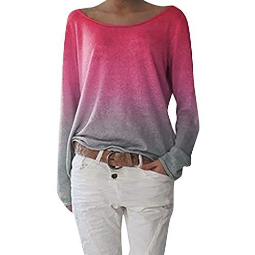 Tooth Damen Langarmshirts T-Shirt, Sommer Herbst Frauen Rundhals Ausschnitt Lose Bluse Hemd Pullover Oversize Sweatshirt Oberteil Tops 2019(Pink,S)