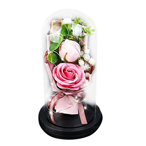 Basage Lasts Eternal Rose Flower Forever Preserved Glass Domo Lights para Regalos de Boda de Cumplea?Os del Día de la Madre de San ValentíN, Rosa