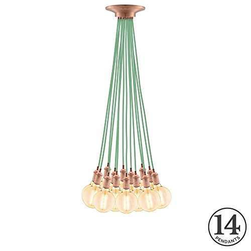 Eclectic Pendant Light Fixture. Eclectic Mint w/Vintage Copper 14...