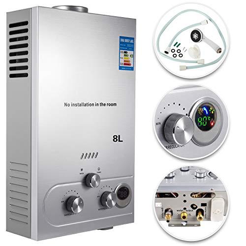 VEVOR 8L Warmwasserbereiter LPG Erdgas Propan Elektronischer Durchlauferhitzer Instant Boiler mit Duschkopf und LCD Display Kein Tank Edelstahl
