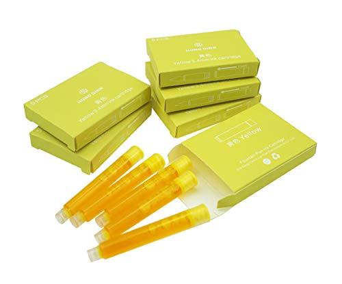 Cartuchos de tinta para pluma estilográfica Hongdian, diámetro de 3,4 mm, 30 cartuchos de tinta de color amarillo