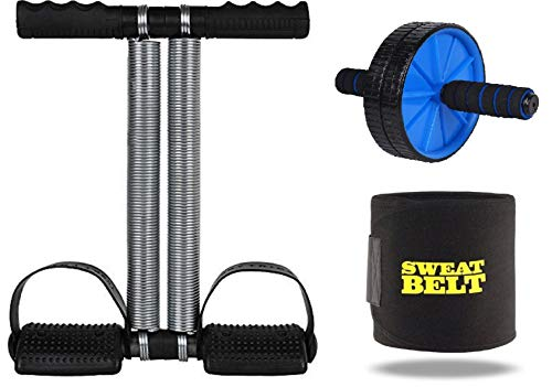 Effingo (3 in 1)Double Spring Tummy Trimmer withDouble Wheel AB Roller and Sweat Belt Waist Trimmer-Abs Exerciser, Body Toner, Fat Buster, Multipurpose Fitness Equipment (Multicolor)