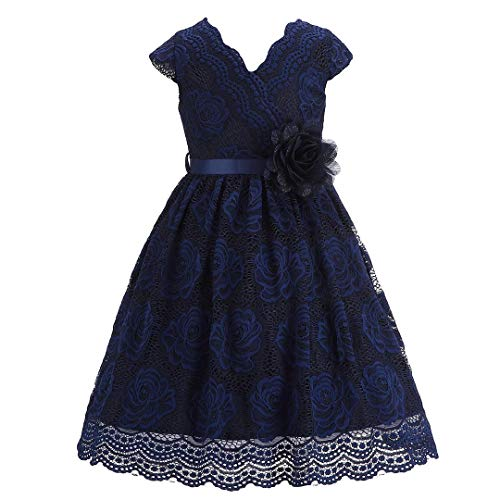 Bow Dream Lace Flower Girl Dress Country Daily Casual Party Navy Blue 6