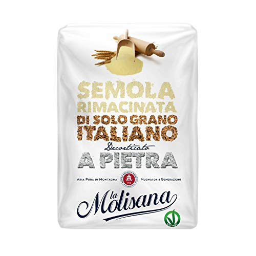La Molisana Semola di Grano Duro Rimacinata, Solo Grano Italiano - 12 confezioni da 1kg (tot 12kg)