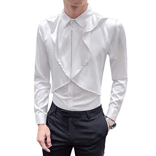 Camisa de Manga Larga con Costura de Personalidad para Hombre, Color sólido, Simplicidad, Tendencia a la Moda, Ropa de Calle, Camisa básica Ajustada XXL