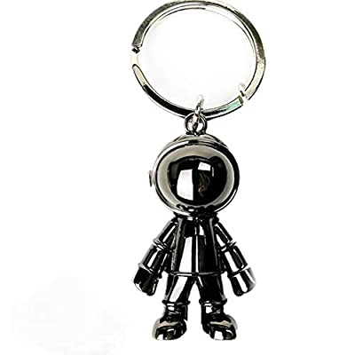 Black Robot Keychains Men Steel Creative Spacemen Pendant Key Chain Ring Key Holder for Office House Heavy Duty Car Key Organizer Backpack Purse Charm