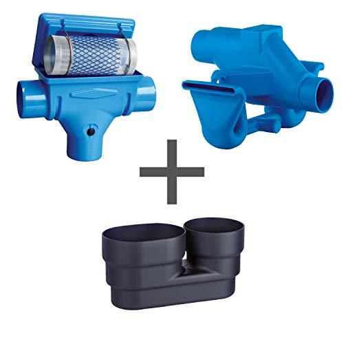 Regenwasserfilter Zisternenfilter 3P Spar-Set K mit Edelstahlsieb für den Einbau in die Zisterne, Anschluss DN 100, Höhenversatz 125 mm. Für die Regenwassernutzung im Haus und zur Gartenbewässerung