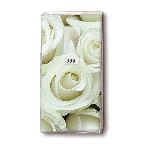 Imprimé roses mouchoirs blanc 4 couches-lot de 10