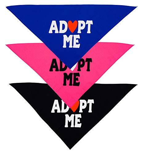 Native Pup Adopt Me Dog Bandana   3 Pack Scarf Set  Blue, Pink and Black Handkerchief Bandannas (Small)