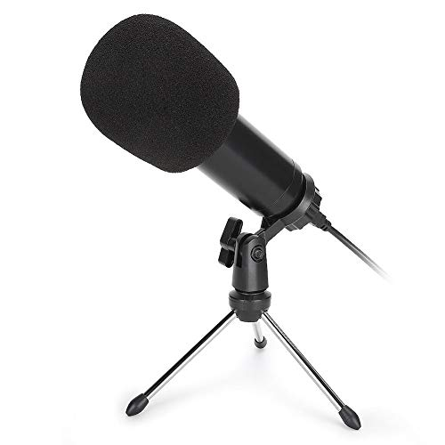 USB Micrófono Condensador Conducir Gratis Plug & Play MicróFono de Computadora Ordenador Personal Escritorio MicróFono con Trípode Reducción de Ruido Micrófono para Karaoke Grabación