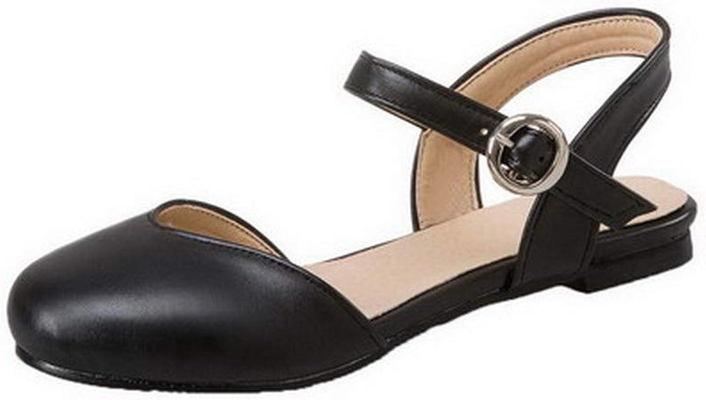 WeenFashion Women's Low-Heels Solid Buckle Pu Closed-Toe Sandals, AMGLX010503