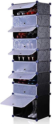 Zapatero Pull-in y extraíble de Zapatos Caja de Almacenamiento en Rack con 9 Espesado rectángulo cajones Caja Organizador Caso Titular de Diseño Que Ahorra Espacio (Color : Black)