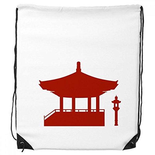 DIYthinker China-Pavillon Kultur Silhouette Illustration Muster-Rucksack Einkaufssporttaschen Geschenk