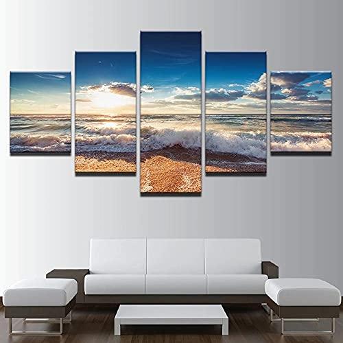 ARIE 5 Piezas Cuadro Olas De La Playa Soleada 5 Piezas Impresión En Lienzo Tablero del Moderno Cuadro De Pintura Póster De Arte Sala De Decoración Hogareña