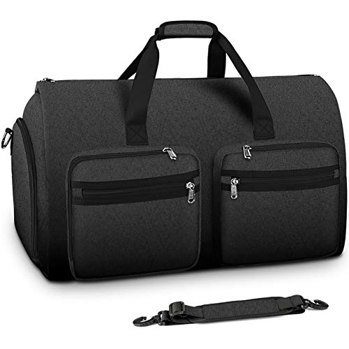 Carry On Garment Bag Convertible Large Suit Bags for Men Women Waterproof 2 in 1 Travel Duffle Bag Weekend Bag with Shoe Compartment Black Illinois