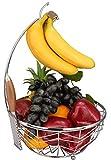 Roselife - Cestino da frutta, contenitore a ciotola per frutta, supporto con gancio per banane e uva, finitura cromata, metallo, Argento, 28x 28 x 42 cm