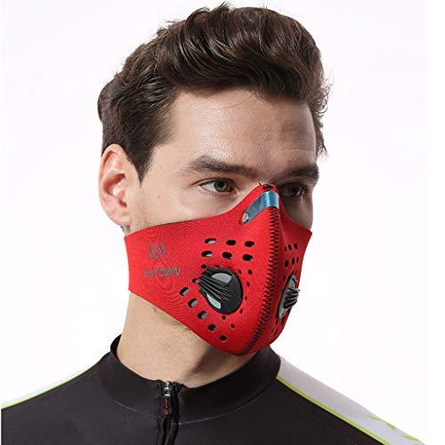 Máscarilla de Neopreno Y Antivaho RojoMáscaras A Prueba de Polvo Máscara de Polvo de CarbóN Activado con SáBana de Algodón con Filtro Adicional