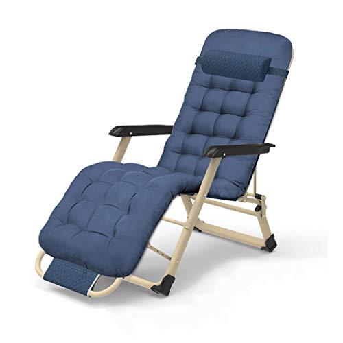MTCWD Liegen, Liegestuhl | Garten Draussen Terrasse Sonne Liegen | Falten Zurücklehnen Stühle | Faltbar Camping Sonne Liege Sonne Bett Liege (Grau, Blau) (Color : Blue, Size : 97x66x95cm)