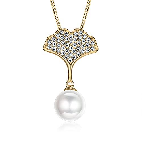 TTbaoz Collar De Plata De Ley 925 para Mujer Circón con Collares De Hojas De Ginkgo Joyería De Aniversario Hot-A