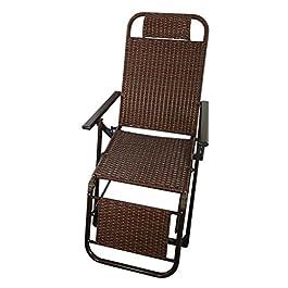 Chaise de Patio inclinable en rotin  Fauteuil inclinable verrouillable Zero Gravity Salon Jardin Pelouse  Chaise Longue d'extérieur Pliable surdimensionnée, Max.150kg