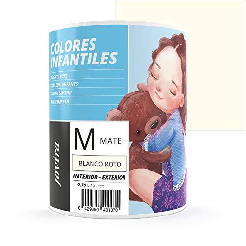 COLORES INFANTILES Pintura plástica ecológica sin olor e hipoalergénica de acabado mate y luminoso. (750 ML, BLANCO ROTO)