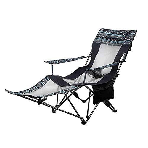 UOOD Camping Recliner Camping Lounge Silliz, silla plegable de mochilero con reposacabezas, reposapiés y bolsa de almacenamiento para camping al aire libre, BBQ, 11 0kg de capacidad de peso Firme y du