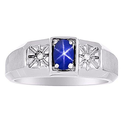 Anello in argento Sterling o oro giallo 14 carati con zaffiro stella blu e diamante