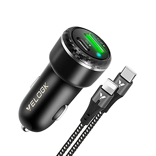 VELOGK 20W USB C Fast Car Charger, Dual-Port iPad/iPhone Car Charger (PD&QC 3.0) for iPhone 12/Pro Max/Mini/11/SE/XS/XR/X/8P, iPad Mini 5/Air 3/2, with USB C to Lightning Cable(3.3ft)