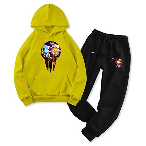 Soul Ea-TER Jogger Men Women 2-Piece Pocket Pants Sets Hiphop Hoodie Sweatshirt Suit Women-M/Men-S Yellow and Black