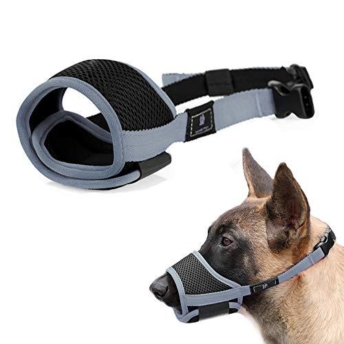 Nylon Dog Muzzle - Anti-Biting Barking Secure Fit Dog Muzzle - Mesh Breathable Dog Mouth Cover for Small Medium Large Dogs (M, Grey)