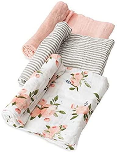 "Little Unicorn – Watercolor Roses Cotton Muslin Swaddle Set | Set of 3 | Watercolor Floral | 100% Cotton | Super Soft | Newborns and Infants | Large 47"" x 47"" | Machine Washable"