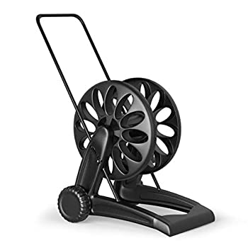 Goplus Mobile Hose Reel Cart with 2 Wheels Quick Connectors and Adjustable Nozzle Easy to Grip Crank Plastic Hose Storage Cart for Garden Lawn Patio Made in Italy