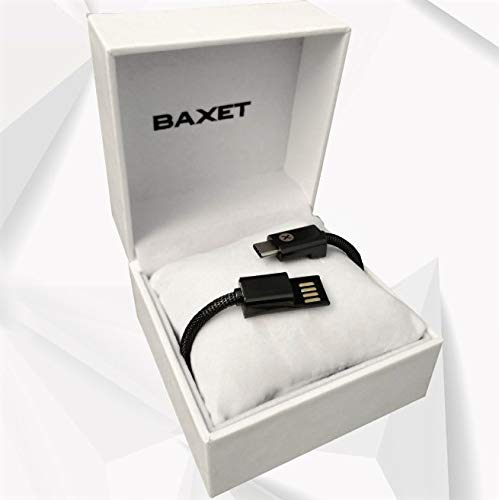 BAXET - Braccialetto di Ricarica Unisex | Cavetto Portatile in Metallo microintrecciato | Bracciale USB Trasmissione Dati | Idea Regalo Tecnologico (Gun, 20cm TypeC)