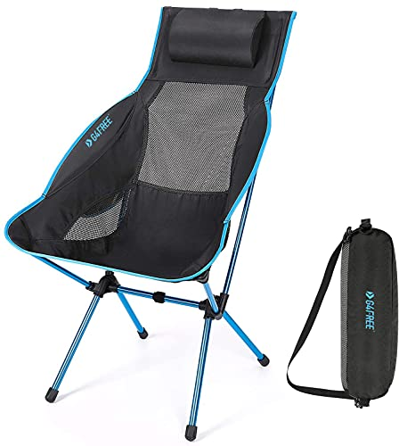 G4Free Folding Camping Chair, High Back Lightweight Camp Chair with Removable Pillow, Side Pocket & Carry Bag, Compact & Heavy Duty 300lbs for Outdoor, Picnic, Festival, Hiking, Backpacking (Blue)