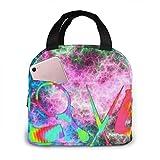 Bolsa de almuerzo aislada portátil con babero Love de estilista colorido.Caja de preparación de comidas impermeable de XX pulgadas con cremallera para