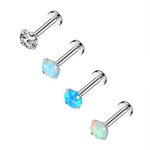 CM Crareesi Mania Opal Labret Studs 316L Stainless Steel Lip Rings 4PCS Internallly Threaded Helix Tragus Earrings 16g Lobe Earrings Cartialge Earrings