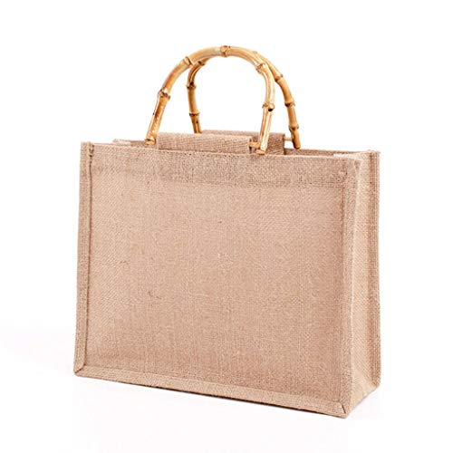 YiPong Bolso portátil del bolso de la compra del yute del arpillera del lazo del bambú maneja