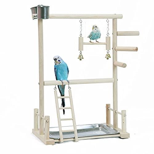 KLMYTCWSD Papagei Vogel Spielplatz Holz Barsch Gym Vogelständer Laufstall Leiter mit Feeder Cups Vogel Nymphensittich Spielzeug Übungsspiel(B:36 * 23 * 53CM)
