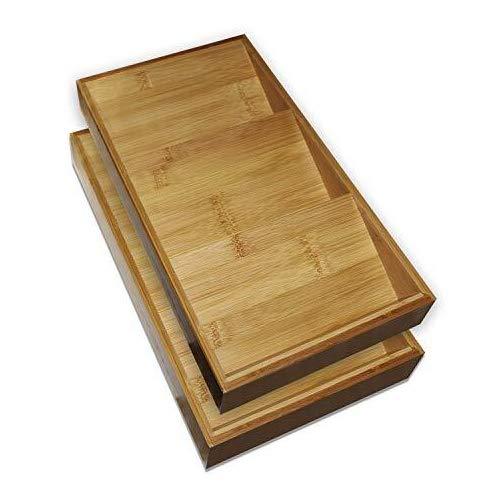 Kurtzy Especiero (Pack de 2) - 3 Niveles (38x20x5cm) Estante de Especias de Madera de Bambú Inclinado Repisas - Inserciones de Cajones, Hierbas y Especias Organizador para Almacenaje la Cocina
