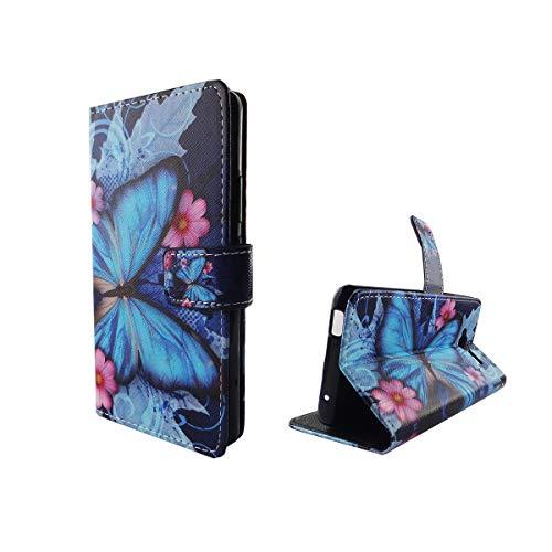 König Design Handyhülle Kompatibel mit ZTE Blade L3 Handytasche Schutzhülle Tasche Flip Case mit Kreditkartenfächern - Schmetterling Blau