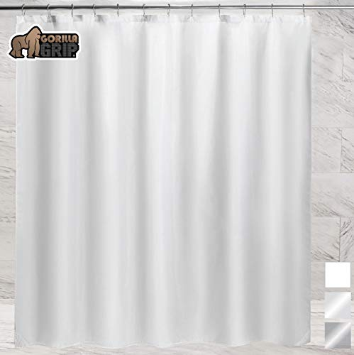 Gorilla Grip Premium Bathroom Fabric Shower Curtain Liner, 72x72 Inch, Waterproof, Machine Washable, BPA Free, Magnets in Liners, Reinforced Hook Holes, Fits Standard Bath Tub, Single, White