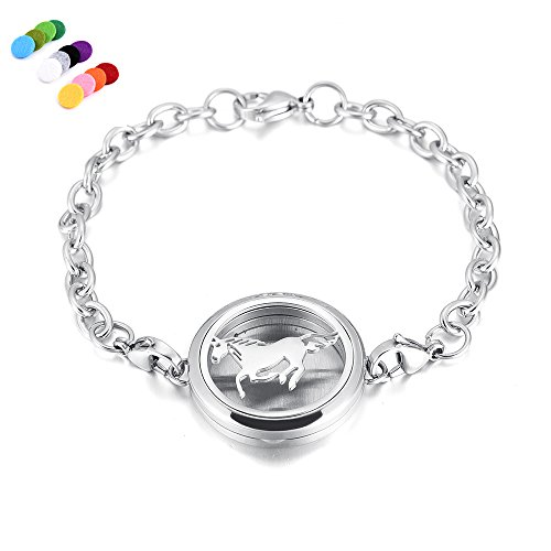 constantlife Hypoallergenic Essential Oil Diffuser Locket Bracelet -Stainless Steel Aromatherapy Scent Jewelry (Horse)