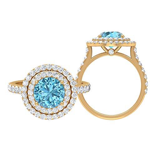 Juego de anillos de solitario para novia, 3,64 quilates redondos, D-VSSI Moissanite 8 mm aguamarina, anillo de halo con piedras laterales, joyería de oro para ella, 10K Oro amarillo, Size:EU 54